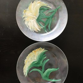sunflowers on glass - set of two, $25